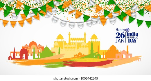 India Republic Day celebration. 26 january. With Buntings, Flags Colors and Confetti. Vector Illustration