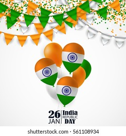 India Republic Day celebration. 26 january. Vector Illustration