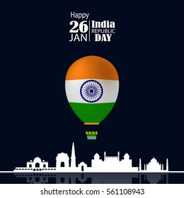 India Republic Day celebration. 26 january. With Air Ballon and Skyline. Vector Illustration