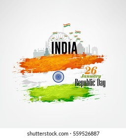 India Republic Day Celebration on January 26 , Indian national day Vector Illustration.