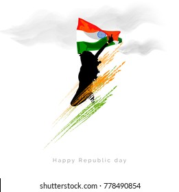 India Republic Day Celebration on January 26 , Indian tri color Vector Illustration.