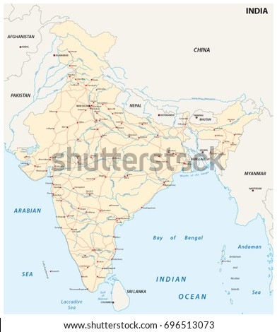 India Road Map Main Cities Stock Vector Royalty Free 696513073