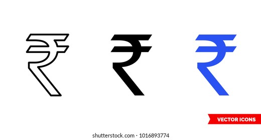 India rupee icon of 3 types: color, black and white, outline. Isolated vector sign symbol.