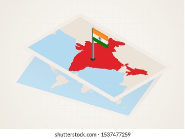 India selected on map with isometric flag of India. Vector paper map.