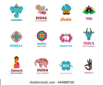 India - set of Indian icons. Ganesh, lotus, elephant mandala and cow