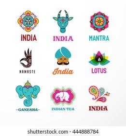 India - set of Indian icons. Ganesh, lotus, elephant mandala and cow