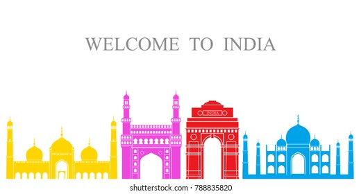 India set. Isolated India architecture on white background