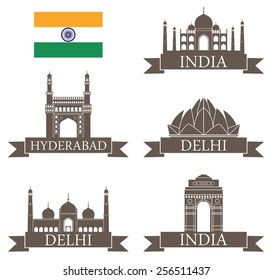 India set. Logo. Abstract india buildings on white background. EPS 10. Vector illustration