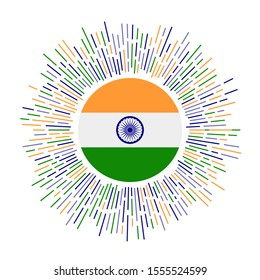 India sign. Country flag with colorful rays. Radiant sunburst with India flag. Vector illustration.