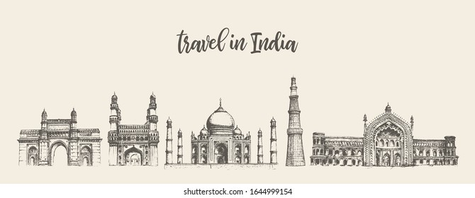 India skyline with its main attractions. Mumbai, Hyderabad, Agra, Delhi, Lucknow. Concept artwork. Hand drawn vector illustration, sketch