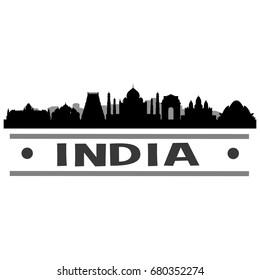 India Skyline Silhouette City Vector Design Art