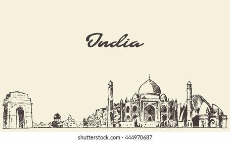India skyline, vector engraved illustration, hand drawn, sketch