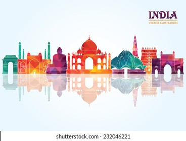 India skyline. Vector illustration