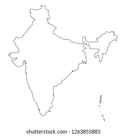 India - solid black outline border map of country area. Simple flat vector illustration.