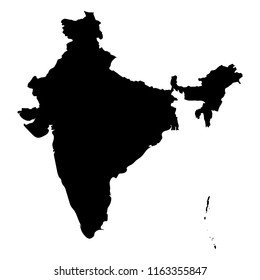 India - solid black silhouette map of country area. Simple flat vector illustration.