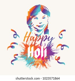 India Spring Festival of Colors. Clean and Minimalist Vector Illustration. Typography with colorful powder burst.