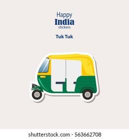 India stickers, Tuk Tuk - Indian Auto Rickshaw. Auto in Dehli. Flat Design. Vector illustration. eps10.