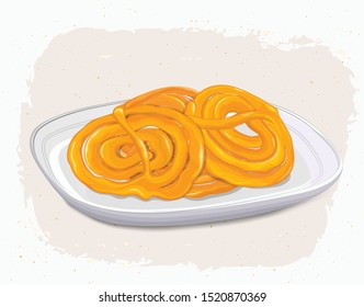 India Street food vector jalebi illustration