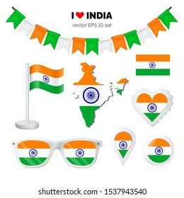 India symbols attributes. Heart, flags, glasses, buttons and garlands with civil and state indian colors. Vector illustration for your graphic design.