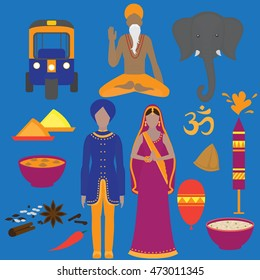 India symbols set. Hinduism design elements. South Asia beautiful woman and man wearing indian traditional cloth. Vedic cuisine, set of vegetarian healthy food. Holi  traditional festival of colors