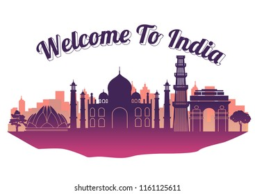 India top famous landmark silhouette style on island, welcome to Taiwan,travel and tourism,vector illustration