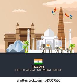 India. Tourism. Travelling illustration Indian. Indian elephant Taj mahal
