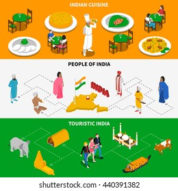 India for tourists 3 isometric tricolor banners with national cuisine dishes and attractions abstract isolated vector illustration