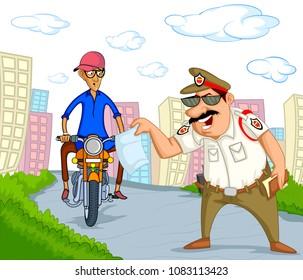 India traffic police vector illustration