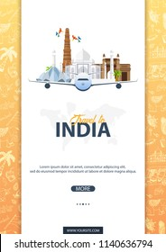 India travel banner. Indian Hand drawn doodles on background. Vector illustration.