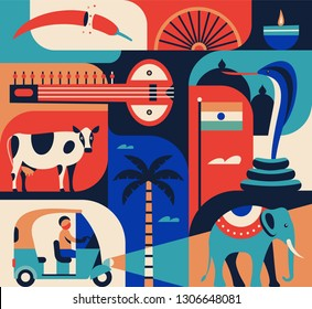 India travel famous landmarks and tourist culture symbols. Icon set, color background. Pepper, candle, sitar, cow, rixa taxi, palm tree, indian elephant, cobra, flag.