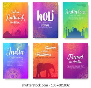 India travel vector posters templates set. Traditional Asian festivals web banners designs. Indian culture exploration tours. Color postcards layout with floral background. Travel agency promo