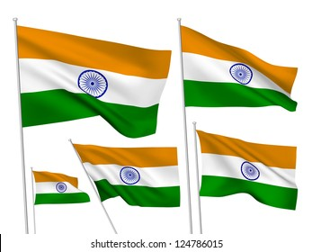 India vector flags set. 5 wavy 3D cloth pennants fluttering on the wind. EPS 8 created using gradient meshes isolated on white background. Five fabric flagstaff design elements from world collection