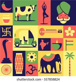 India, vector flat illustration, icon set, pattern, background: Hindu, yoga, snake cobra, car, sitar, lotus flower, drum, om, map, elephant, indian tea, cow, palm tree, candle, flag, pepper