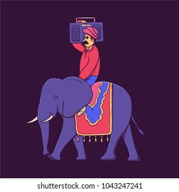 India, vector illustration, man with record player, elephant driver
