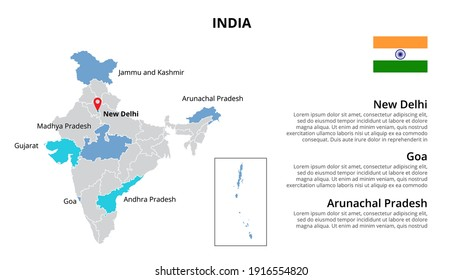 India vector map infographic template divided by states, regions or provinces. Slide presentation.