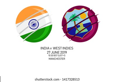 India vs West Indies, 2019 Cricket Match, Vector illustration