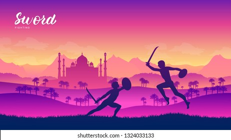 India warriors with sword martial arts of different Nations of the world. Traditional fights with weapon background. Fighting style battle template layout modern slider