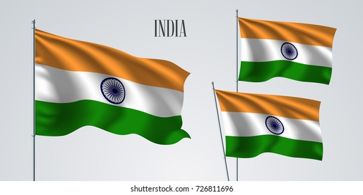 India waving flag set of vector illustration. Orange white green  of Indian wavy realistic flag as a patriotic symbol