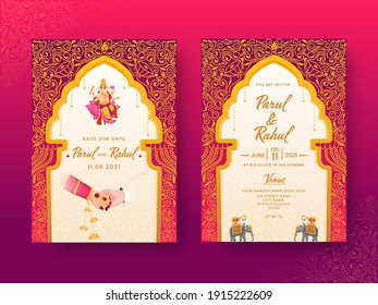 India Wedding Invitation Card With Couple Hands And Venue Details In Front And Back View.
