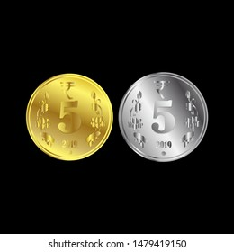 Indian 5 rupees coin with golden and silver color in 3d vector file