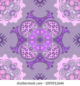 Indian abstract medallion pattern.Boho and gypsy style. Ethnic paisley ornament. Can be used for wallpapers, gift wrap, textile, duvets and linens
