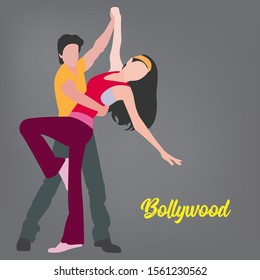 Indian actor and actress performing bollywood style dance moves. Indian Bollywood dancing style performed by a couple.