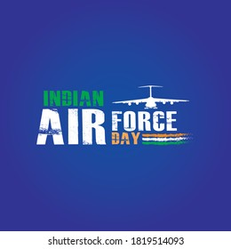 Indian Air Force Day, Concept Banner and Typography theme name. Vector  Illustration.