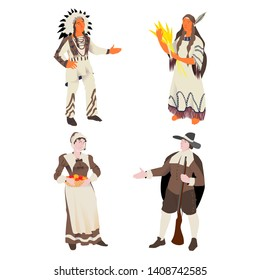 The Indian and American pilgrim, vector illustration people set for  Thanksgiving Day. The America man and woman in traditional suit. Isolated object.