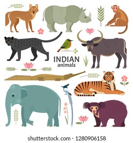 Indian animals. Vector illustration of wildlife of India, including birds,  plants and animals, such as Panther, Bengal Tiger, Jackal, Asian Elephant, Sloth Bear and Macaque. Isolated on white.