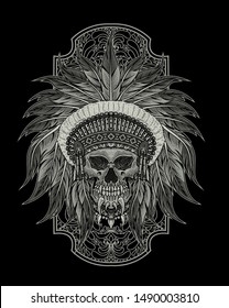 INDIAN APACHE SKULL vector illustration design with engraving style.