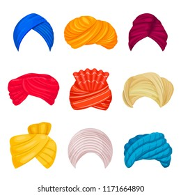 Indian and arabic turban set. Head covering worn by Muslims, different types and colors. Vector turban hats illustration on white background
