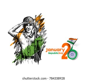 Indian army showing victory of india. Indian Republic day concept with text 26 January.