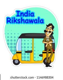 Indian auto driver (rikshawala) cartoon illustration
