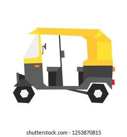 Indian auto rickshaw illustration in geometric style. Can be used as a sticker, icon, logo, design template, card, banner.